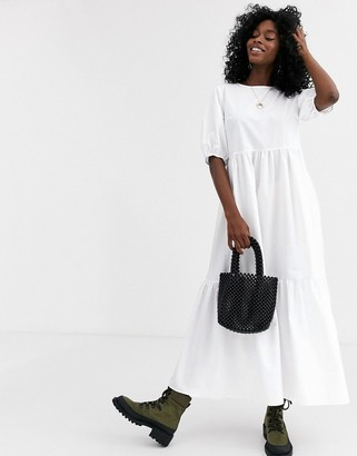 ASOS DESIGN tiered cotton smock midi dress