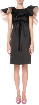 Marc Jacobs Runway) Ruffled-Neck Satin Cocktail Dress