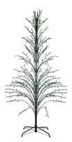 Asstd National Brand 9' Green Lighted Christmas Cascade Twig Tree Outdoor Yard Art - Green Lights