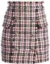 Balmain Button-embellished tweed mini skirt