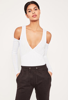 Missguided White Wrap Front Cold Shoulder Bodysuit