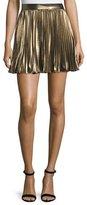 Haute Hippie Pleated Lamé; Mini Skirt, Gold