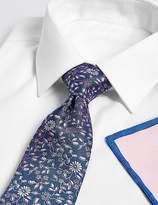 Marks and Spencer Floral Tie, Hank & Cufflink Set