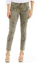 KUT from the Kloth Brigitte Palm Print Ankle Skinny Jeans