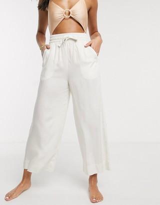 Monki tie-waist beach pants in off