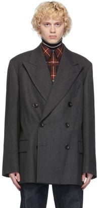 Dries Van Noten Grey Wool Herringbone Blazer