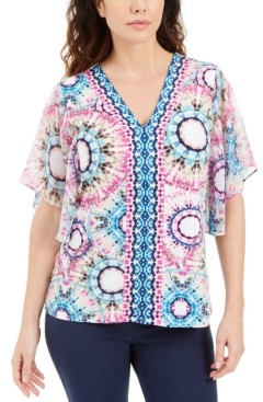 JM Collection Plus Size Abstract-Print Flutter-Sleeve Top, Created for Macy's