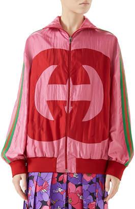 Gucci Zip-Front Technical Nylon Jacket w/ GG Intarsia