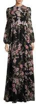 Giambattista Valli Long-Sleeve Anemone-Print Gown, Black