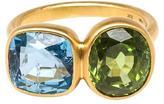 Marie Helene De Taillac Aquamarine and Peridot Princess Duet Ring