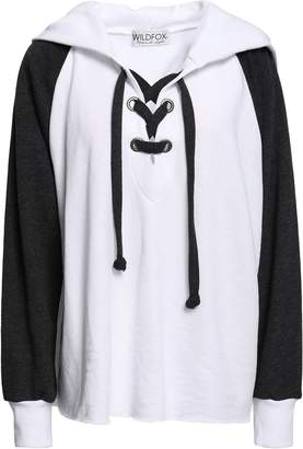 Wildfox Couture Lace-up Two-tone French Cotton-blend Terry Hooded Sweatshirt
