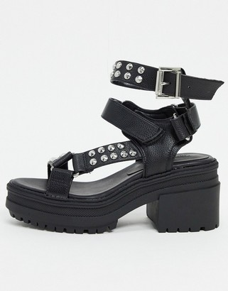 ASOS DESIGN Hawkin studded chunky mid-heeled sandals in black
