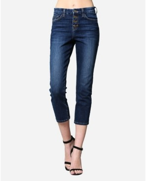 Flying Monkey High Rise Button Up Straight Crop Jeans