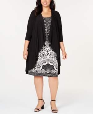 R & M Richards Plus Size Foil-Puff Print Necklace Dress & Jacket