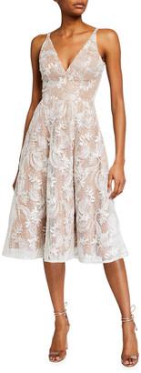 Dress the Population Elisa Lace Overlay Sleeveless Fit-&-Flare Dress