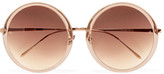 Linda Farrow Round-frame Acetate And Rose Gold-tone Sunglasses - Blush