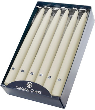 """10"""" Colonial Candle Handipt Taper Candle, Ivory, Set of 12"""