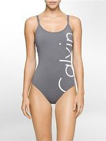 Calvin Klein Womens Logo One-Piece Swimsuit