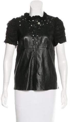Valentino Leather Embellished Top