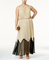 MSK Plus Size Pleated Metallic Blouson Halter Gown