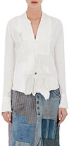 Greg Lauren Women's Patchwork Tuxedo Shirt-WHITE