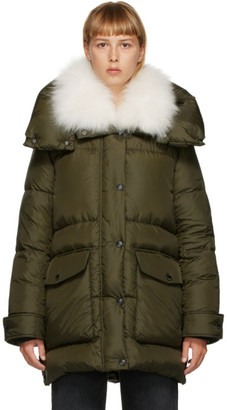 Yves Salomon Army Green Down Puffer Coat