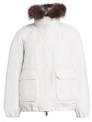 Brunello Cucinelli Women's Reversible Fox Fur-Trim Quilted Parka