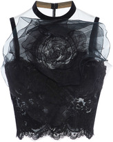 Marchesa Laced Illusion Tulle Top