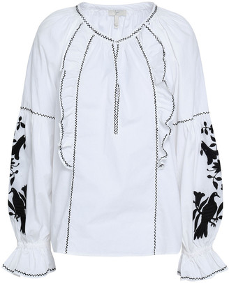 Joie Cleavanta Embroidered Cotton-poplin Blouse