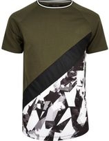 River Island MensKhaki colour block camo T-shirt