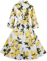 VogueBella Women 3/4 Sleeve 1950s Vintage Rockabilly Printed Dress Prom Dress (S, )