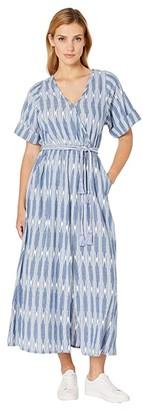 Karen Kane Cuffed Sleeve Dress (Off-White/Blue) Women's Clothing