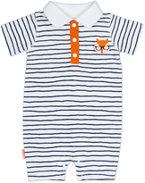 Kushies Navy Stripe On Safari Romper - Infant