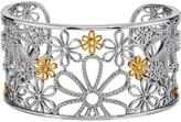 Flower Cuff Bracelet with Diamond Accents in Sterling Silver by Ax Jewelry