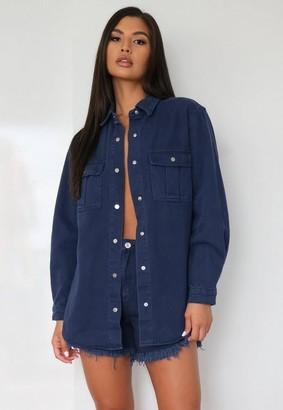 Missguided Navy Co Ord Oversized Denim Shirt
