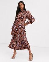 Asos Design DESIGN maxi satin tea dress with collar in abstract zebra print