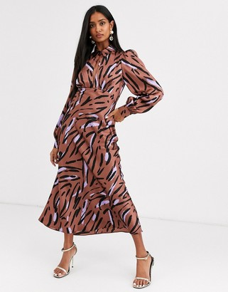 Asos Design DESIGN maxi satin tea dress with collar in abstract zebra print-Multi