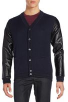 Versace Faux Leather-Sleeve Knit Cardigan