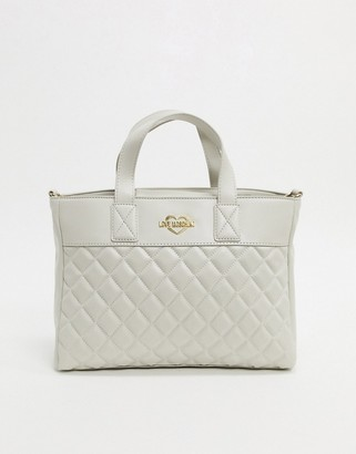 Love Moschino quilted tote bag in ivory-Cream