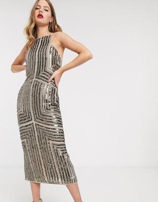 ASOS DESIGN linear embellished panelled midi pencil dress