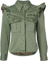 Marc Jacobs ruffled-shoulder jacket - women - Cotton - 4