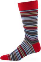 Bugatchi Striped Cotton-Blend Socks, Ruby