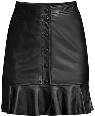 Ganni Thin Lamb Leather Fluted Hem Skirt