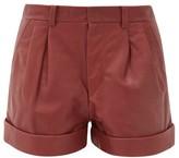 Etoile Isabel Marant Abot Pleated Leather Shorts - Womens - Burgundy