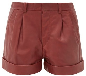 Etoile Isabel Marant Abot Pleated Leather Shorts - Burgundy