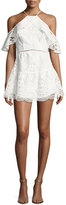 Karina Grimaldi Ellie Lace Cold-Shoulder Mini Dress, White