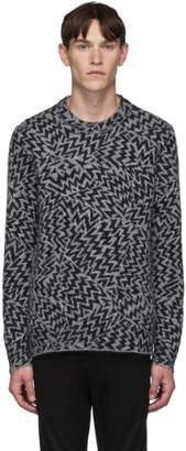 Saint Laurent Grey and Black Wool and Mohair Jacquard Comics Sweater