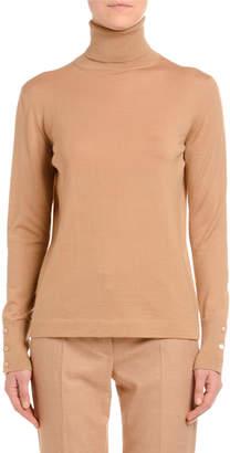 Agnona Cashmere-Silk Turtleneck Sweater, Camel