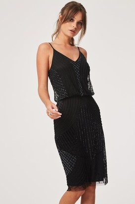 Little Mistress Luxury Alexis Black Hand Embellished Midi Dress