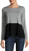 Three Dots Colorblock High Low Tee